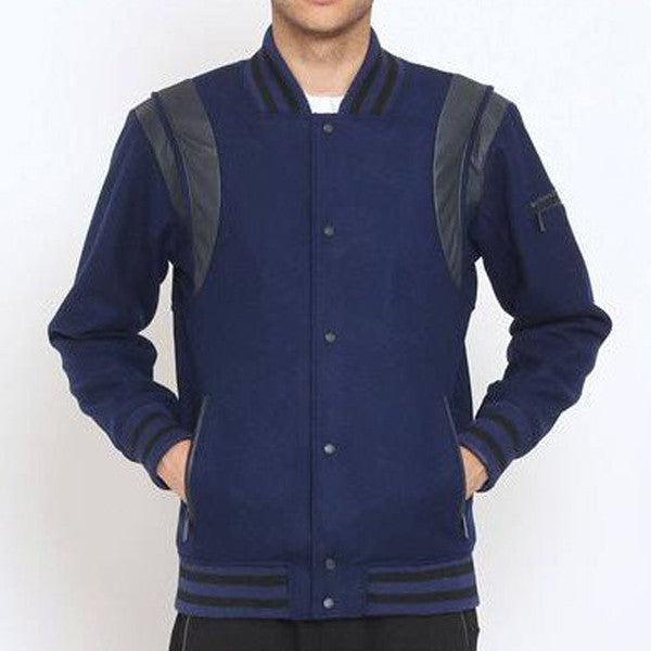 Unknown Designer Navy blue wool varsity jacket
