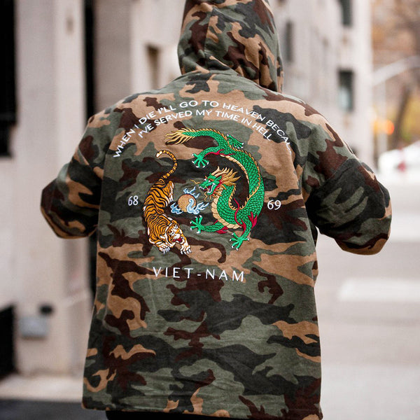 Vietnam Brushed Camo Embroidery Half Zip Pull Over Hoodie - Low Stock