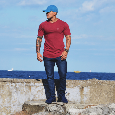 MAROON WASHED SCOOP TEE