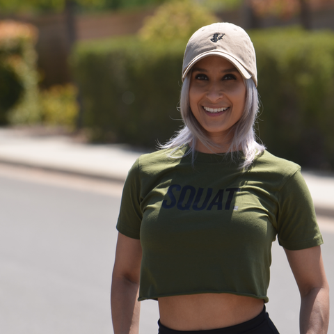 SQUAT CROP TOP MILITARY OLIVE