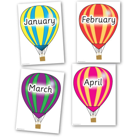 Month of the Year Hot Air Balloons