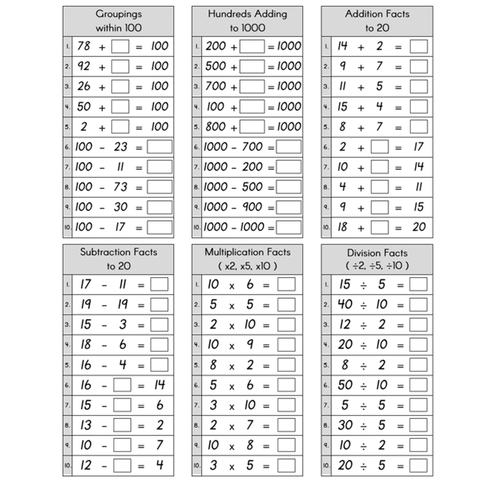 Basic Facts Practice Pages - Sums to 1000 - x2, x5, x10