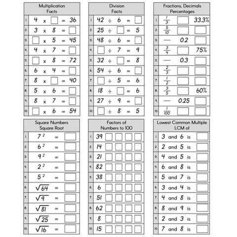 Basic Facts Practice Pages - fractions, decimals, percentages