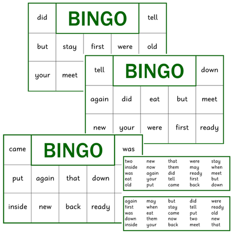 BINGO Boards - Set 4 - Green