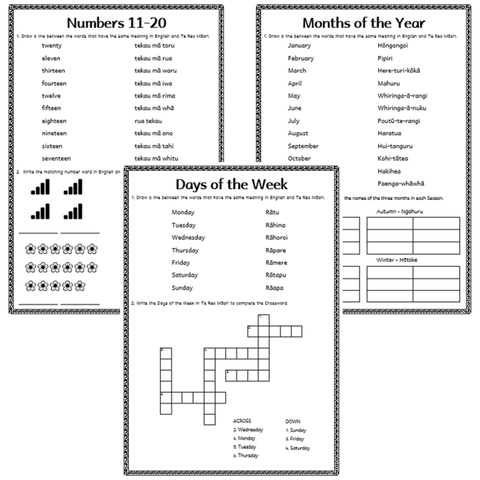 Building Vocab Activities - Days, Months, Numbers