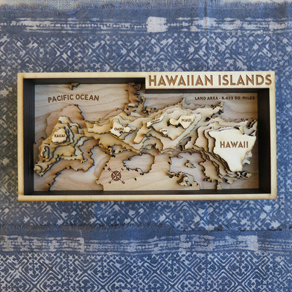 Hawaiian Islands Wooden Topo Map