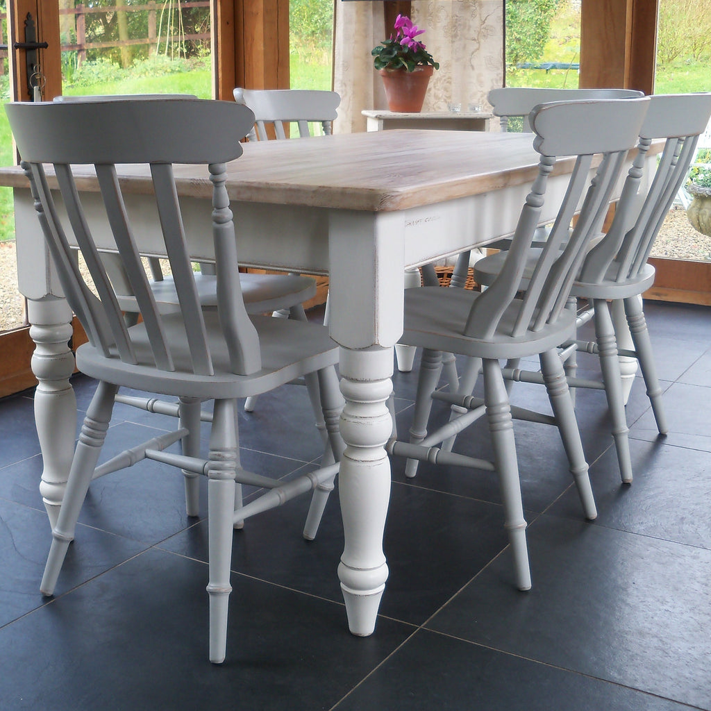 painted farmhouse kitchen table and chairs