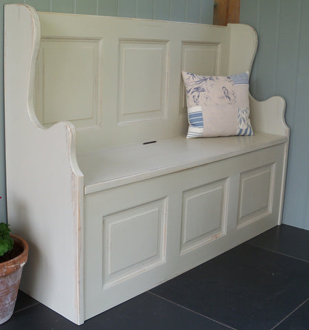 Painted monks bench with storage