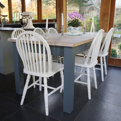 painted square leg table and hoop back chairs