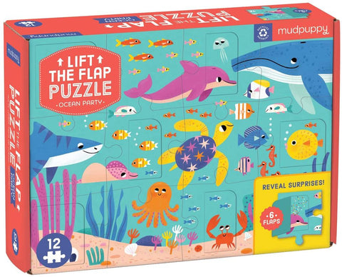 Mudpuppy Ocean Party Lift the Flap Puzzle