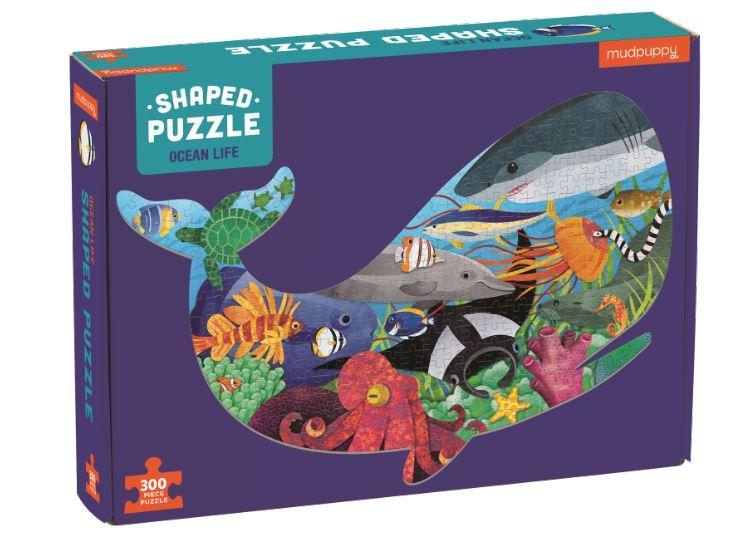 Mudpuppy Ocean Life Shaped Scene 300 Piece Puzzle