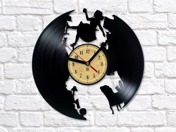Vinyl Clock -  Alice in Wonderland