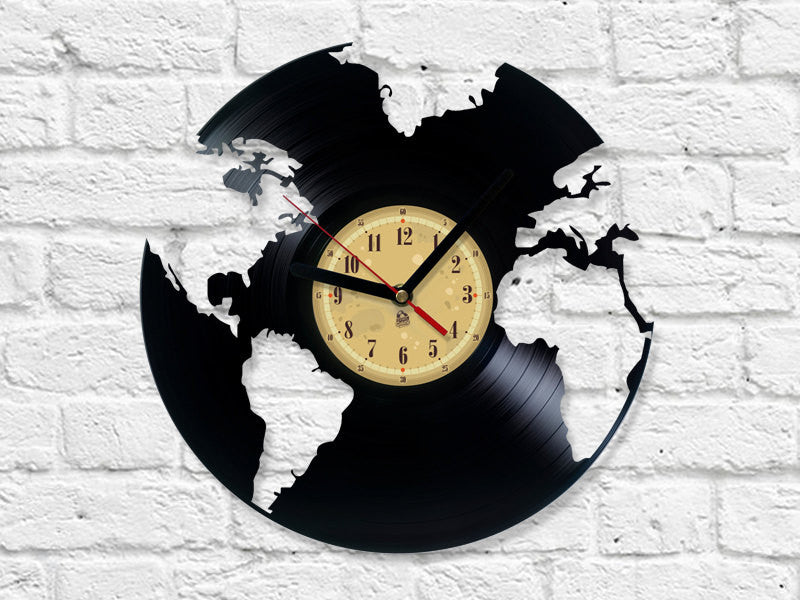 Vinyl Record Clock - World