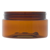 250gm Jar PET,  Amber , Black smooth wall Screw Cap