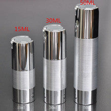 5ml Airless Pump Bottle Matt silver body and shiny silver bottom & cap