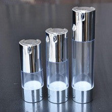 50ml Airless Pump Bottle clear acrylic with  shiny silver Cap & shiny silver trim