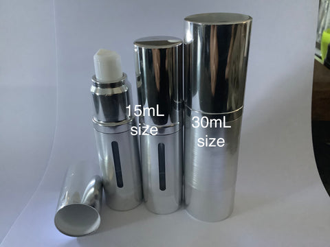 15ml Airless Pump Bottle Silver - viewing window