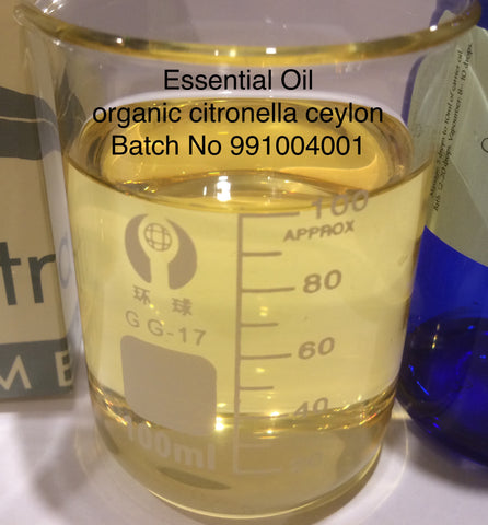 Citronella Essential Oil Organic India  <br><i><small>cymbopogon nardus</small></i></br>