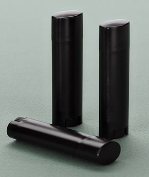 5gm  Oval Lip Balm Tubes - Black with Black Cap