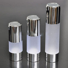 15ml Airless Pump Bottle Frosted acrylic with Shiny Silver cap & Shiny Silver trim