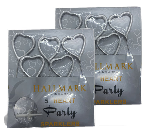 "BUY 1 GET 1 FREE - 1 PACKET OF  4"" HALLMARK HEART SHAPED SPARKLERS (5 PER PACK) - SILVER"