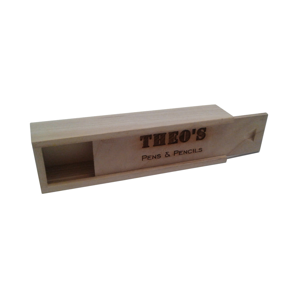Personalised, Laser Engraved, Rectangular Traditional Plain Wood Pencil Case with Sliding Lid