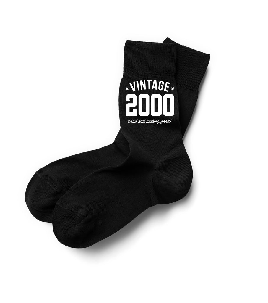 Vintage 2000 Black Sock, Mens 18th Birthday Gift, 18th Present, Gift Idea, Boys, Mens, Dad, Him, 2000 Men 18 Black Sock, Mens Socks
