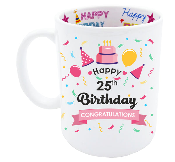 25th Birthday, Tea Coffee Mug Birthday, 25th Birthday Gift, 25th Birthday Idea