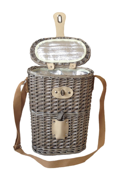 2 Bottle Chilled Carry Basket Made from Willow with Antique Wash Finish with Insulated Cooler Lining