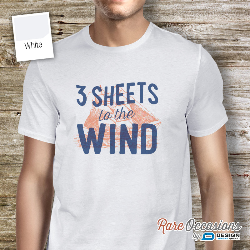 3 Sheets To The Wind, Sailing Shirt or Gift For Sailors, Sailing T Shirt, Nautical Shirt, Beach Shirt, Boat Shirt, Boating Shirt, Sailing Boat, Men's Crew Neck!