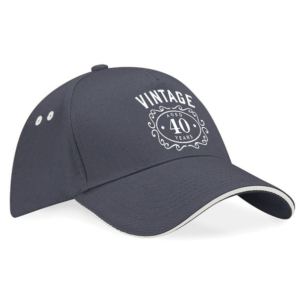40th Birthday Gift Idea Funny Vintage Baseball Cap Hat