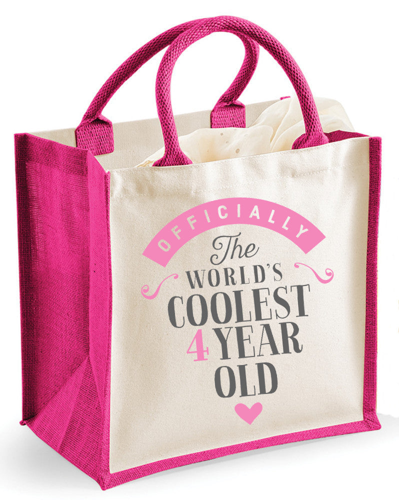 4th Birthday, Gift, Girl's Medium Sized Fuchsia Gift Bag, Keepsake, Gift Idea