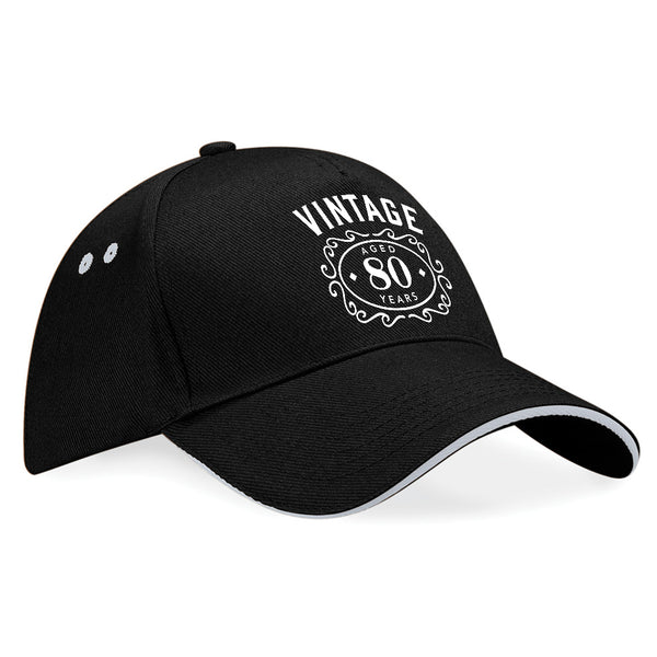 80th Birthday Gift Idea Funny Vintage Baseball Cap Hat