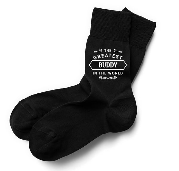 The Greatest Buddy in the World Black Sock, Buddy Gift, Greatest Buddy, Buddy Gifts For Birthday, Best Buddy Gifts, Buddy Socks, Mens Birthday Gift, Gift Idea, Men, Dad, Him, Mens Socks, Personalised Name Sock, Size 6-11