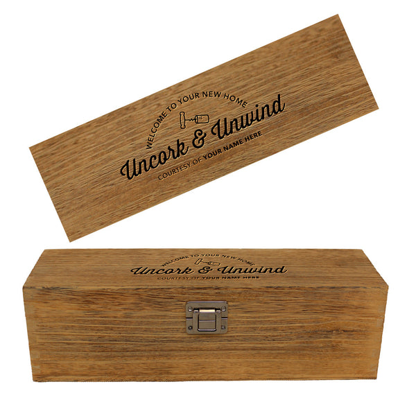 Housewarming Gift, Vintage Oak effect Single Bottle Wooden Box