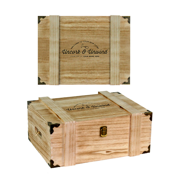 Housewarming Gift, Shallow Wooden Chest or Wine Box