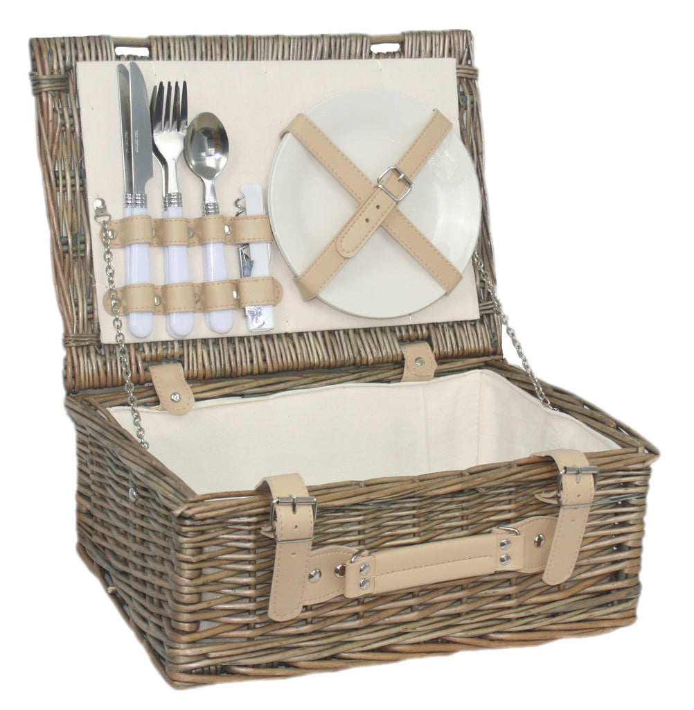 14'' Fitted Hamper for 2 People Made from Willow with Antique Wash Finish