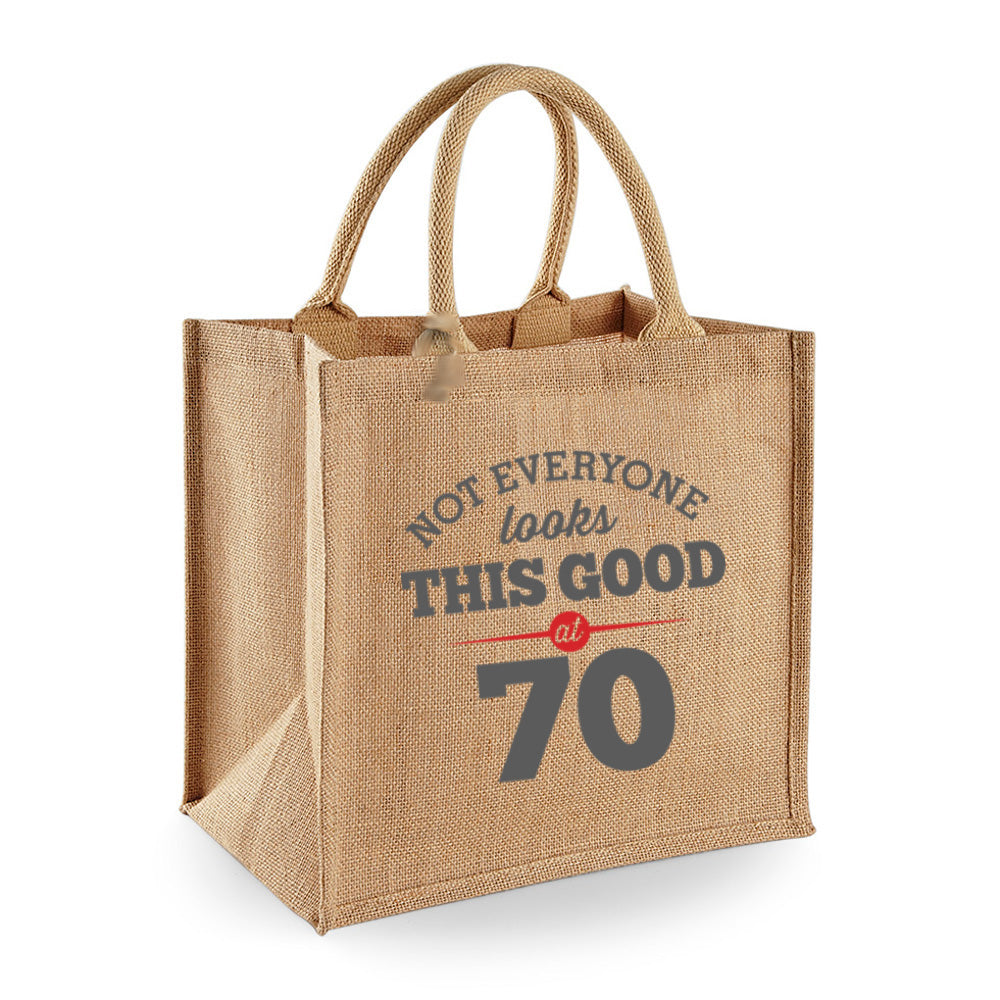 70th Birthday Bag Gift Womens Ladies Shopping Tote Bi Design Invent Print