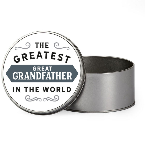 Great Grandfather Gift, Greatest Great Grandfather, Perfect Great Grandfather Christmas Present or Birthday Tin