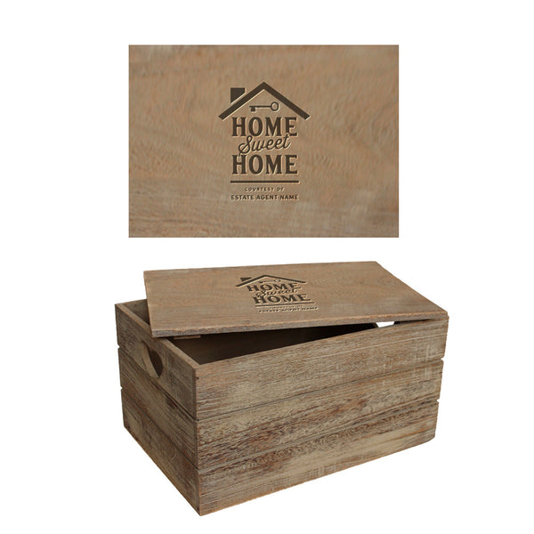 Housewarming Gift, Vintage Oak effect Box With Heart Cut-Out Handles