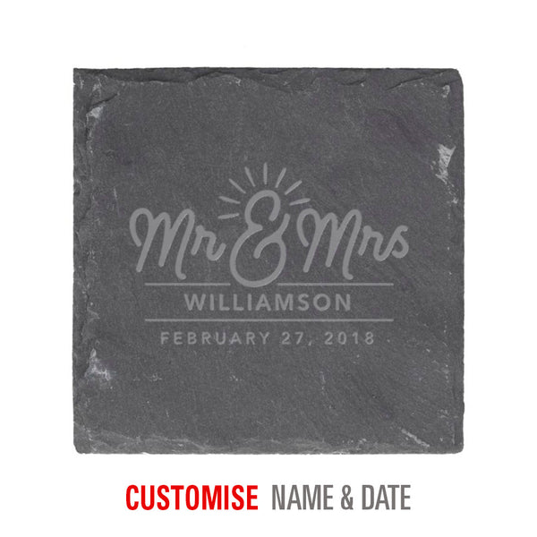 Bride & Groom, Mr & Mrs, Wedding Keepsake, Laser Engraved Personalised, His And Hers Gift, Makes Perfect Couples Gift, Slate Coaster 10cm x 10cm