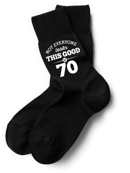 Not Everyone Looks This Good at 70 Black Sock, Mens 70th Birthday Gift, 70th Present, Gift Idea, Boys, Mens, Dad, Him, 1947 Men 70 Black Sock, Mens Socks