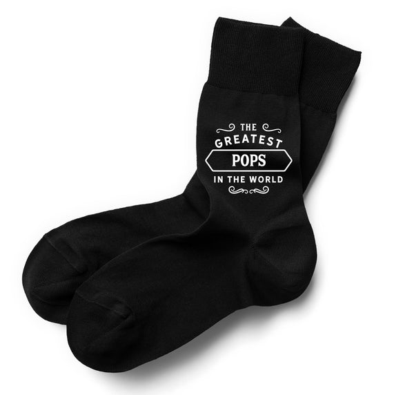 The Greatest Pops in the World Black Sock, Pops Gift, Pops Gifts For Birthday, Pops Socks, Mens Birthday Gift, Gift Idea, Men, Pops, Him, Mens Socks, Personalised Name Sock, Size 6-11
