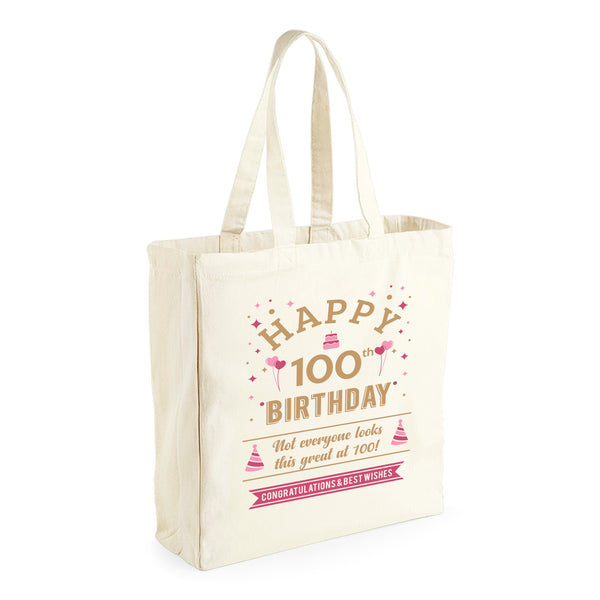 100th Birthday, Gift Idea, Tote, Shopping Bag or Gift Bag Present, Keepsake