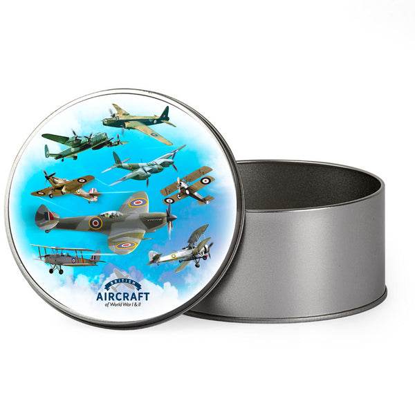 WWII Aircraft Gift Box, Includes 8 Iconic Aircraft, Metal Tin