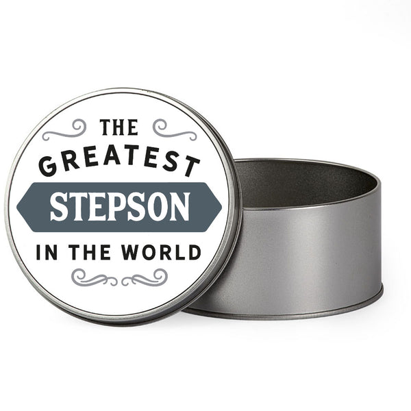 Stepson Gift, Greatest Stepson, Perfect Stepson Christmas Present or Birthday Tin