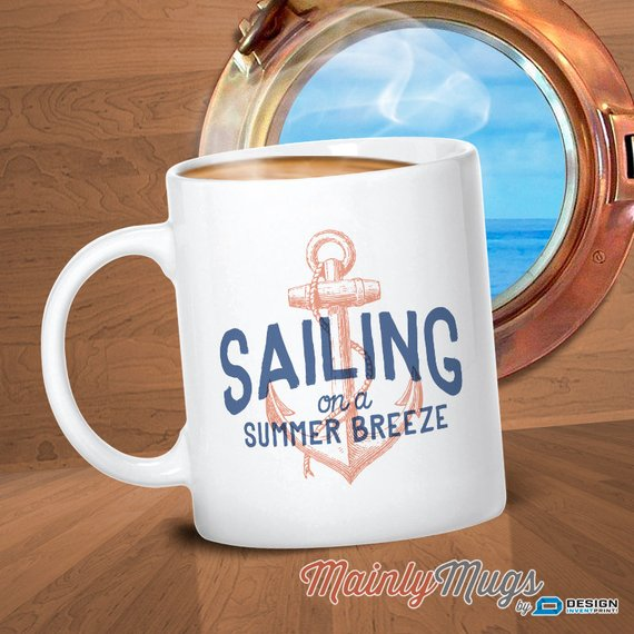 Sailing on a Summer Breeze, Sailing Gift, For Sailors, Sailing Boat, Nautical Decor, Sailing Mug. Boating, Yachting or Yacht Gift, Beautiful Sailing Art or Sailor Mug