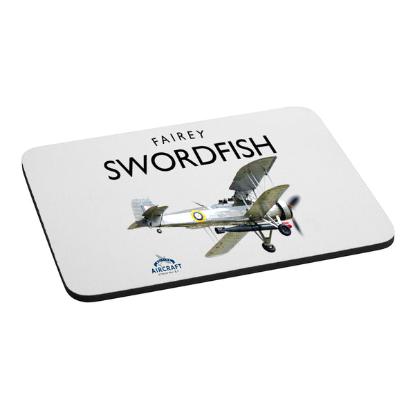 Fairey Swordfish Gift, Computer Mouse Mat, Illustration, Detailed Vintage Fairey Swordfish Gift, Unique and Original WWII Gift