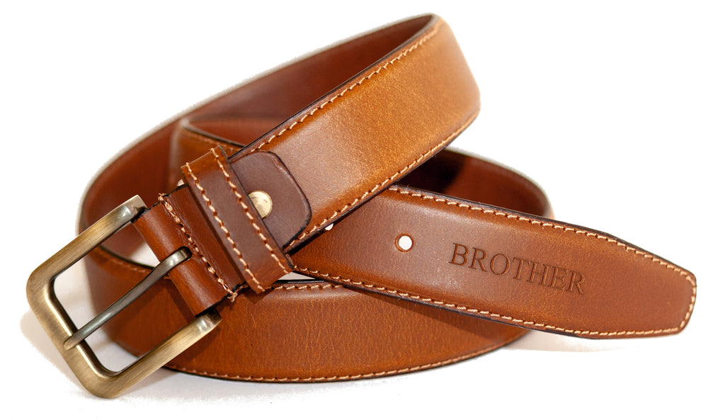 Brother Gift, Embossed Leather Belt Birthday Gift Present Keepsake Idea Christmas