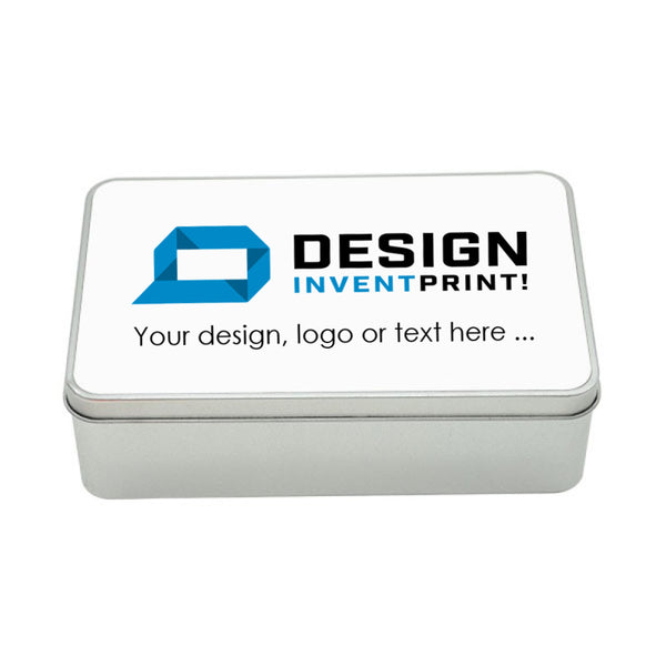 Custom Print Promotional or Gift Tin 18.4 x 11.4 x 5.5 cm